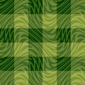 green gingham swirl