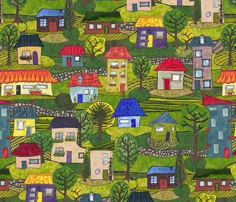 The days of the quarter acre block fabric by bippidiiboppidii on Spoonflower - custom fabric