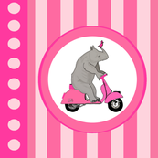 Rhinos on pink mopeds - Large Scale