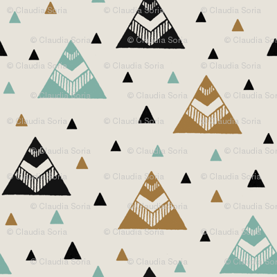Chevron Triangles - Gold Mint