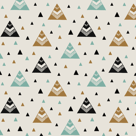 Chevron Triangles Gold Turquoise fabric by kimsa on Spoonflower - custom fabric