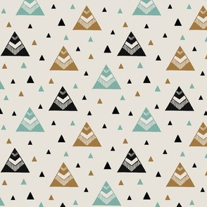 Chevron Triangles Gold Turquoise
