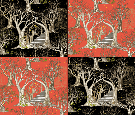 Spooky Trees in the Forests of Flame and Deep Black Midnight - 4 X Fat Quarters Panel fabric by rhondadesigns on Spoonflower - custom fabric