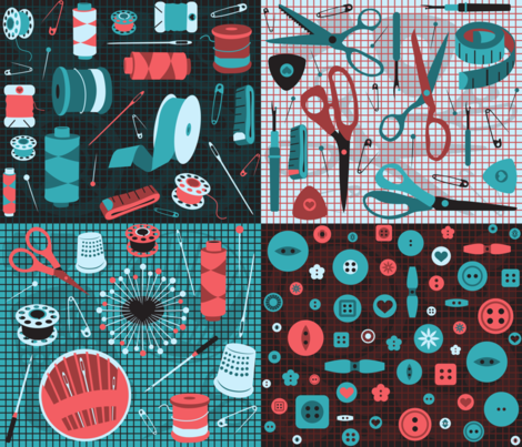 bits 'n bobbins fabric by gray___ on Spoonflower - custom fabric
