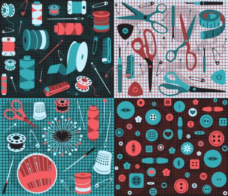 bits 'n bobbins fabric by gray___ on Spoonflower - custom fabric