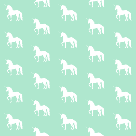 Prancing Unicorn on Mint fabric by thistleandfox on Spoonflower - custom fabric