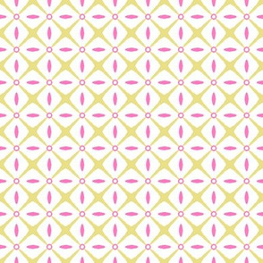 Interspersed   -Butter and Pink on White
