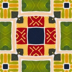 Bright Geometric Patchwork Fabric