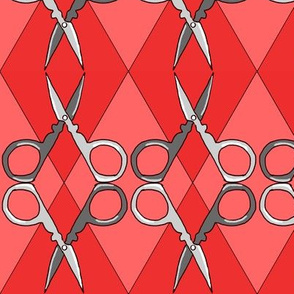 Sewing Scissors Argyle red on red