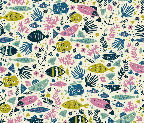 Little Fish fabric by annadeegan on Spoonflower - custom fabric