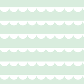Scalloped bunting white on mint