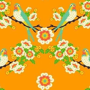 Bloomin'buttons'n'Birds - orange