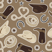 Cute Cowboy Theme Pattern Brown