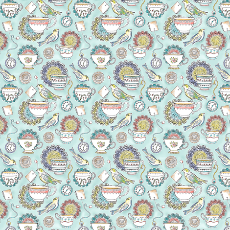 Afternoon Tea 25% Scale fabric by heatherdutton on Spoonflower - custom fabric