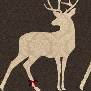 deer with ribbon on his leg