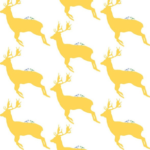 deer with birds