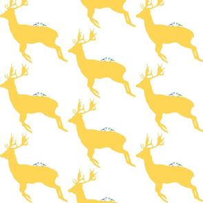 deer with birds