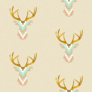 Telluride Deer in Bright Mint and Coral