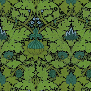 William Morris ~ Growing Damask ~ Seaside Garden on Black