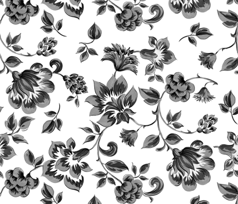 Fleurs de Provence ~ Black and White fabric by peacoquettedesigns on Spoonflower - custom fabric