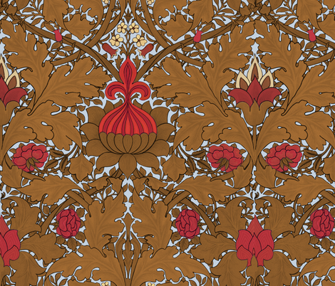 William Morris ~ Growing Damask ~ Versailles Fog fabric by peacoquettedesigns on Spoonflower - custom fabric