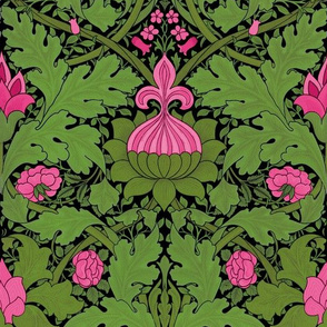 William Morris ~ Growing Damask ~ Briarwood on Black
