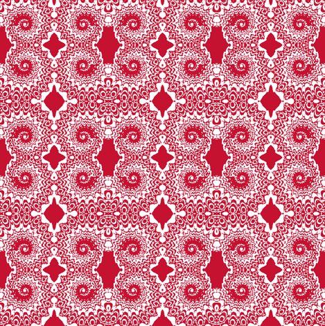 Peacock Swirl Red and White