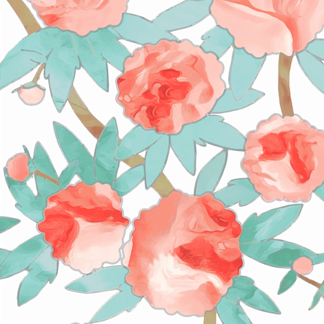 Paeonia in Watercolor fabric by sparrowsong on Spoonflower - custom fabric
