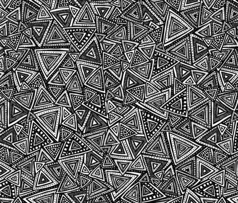 Tribal Triangles (Black and White) fabric by robyriker on Spoonflower - custom fabric