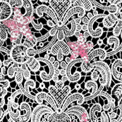 White Lace on Black with Pink Stars