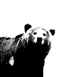 Large Bear Crib Sheet // Black and White