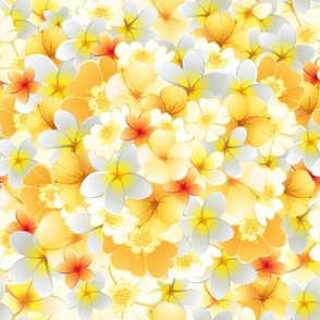 Yellow tropical flowers pattern
