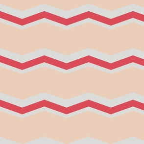 chevron sand, gray, scarlet