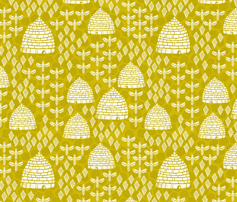 Honey Hives - Golden by Andrea Lauren fabric by andrea_lauren on Spoonflower - custom fabric