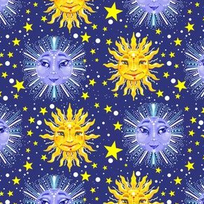 sun moon and stars celestial print
