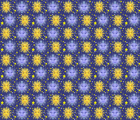 Sun moon and stars celestial print beesocks spoonflower for Sun moon fabric
