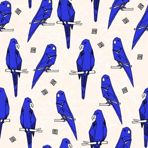 Parrots - Cobalt Blue/Champagne by Andrea Lauren