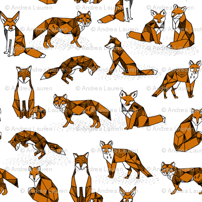 fox // foxes rust brown kids nursery white background fox animal geometric fox design