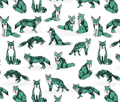 Skulk of Foxes - Seafoam Green/White by Andrea Lauren fabric by andrea_lauren on Spoonflower - custom fabric
