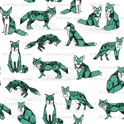 fox // green geo fox geometric fox andrea lauren foxes nursery print