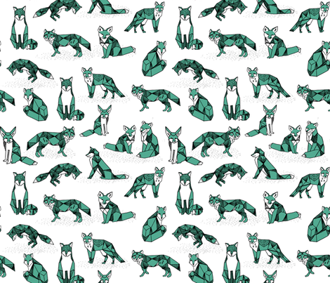 fox // green geo fox geometric fox andrea lauren foxes nursery print fabric by andrea_lauren on Spoonflower - custom fabric
