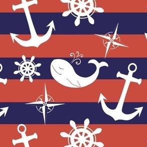 Navy blue nautical stripes