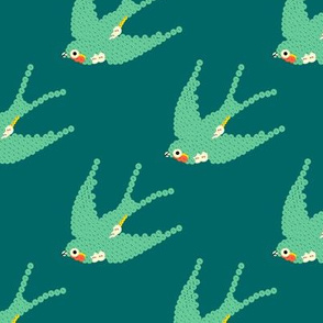 bebuttoned birds - teal