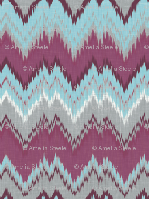Aqua, Plum and Cashmere Ikat Chevron