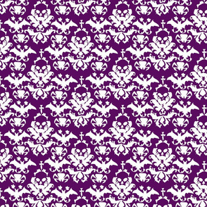 Skull Damask in Purple
