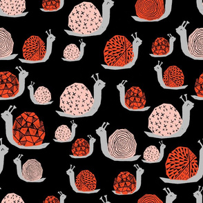 Snails - Vermillion/Pale Pink on Black by Andrea Lauren