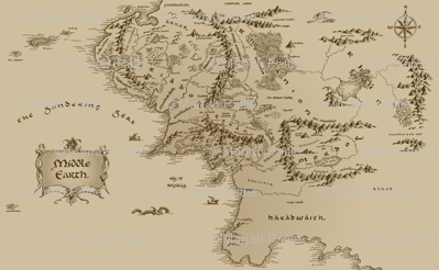 Map Of Middle Earth Repeated Small