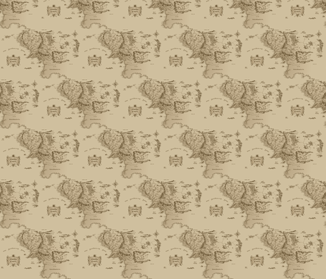 Map Of Middle Earth Small Repeat fabric by fandomfabric on Spoonflower - custom fabric