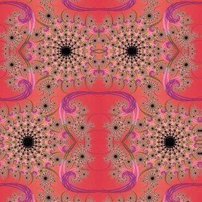 Coral Pink Fractal Swirls 1