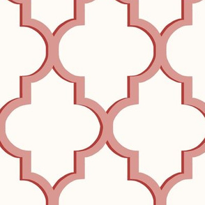 Dimensional Quatrefoil in Muted Rose